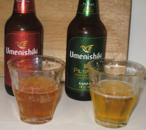 umenishiki beer in cup