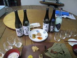 Sample of sake and food at Asamai Brewery